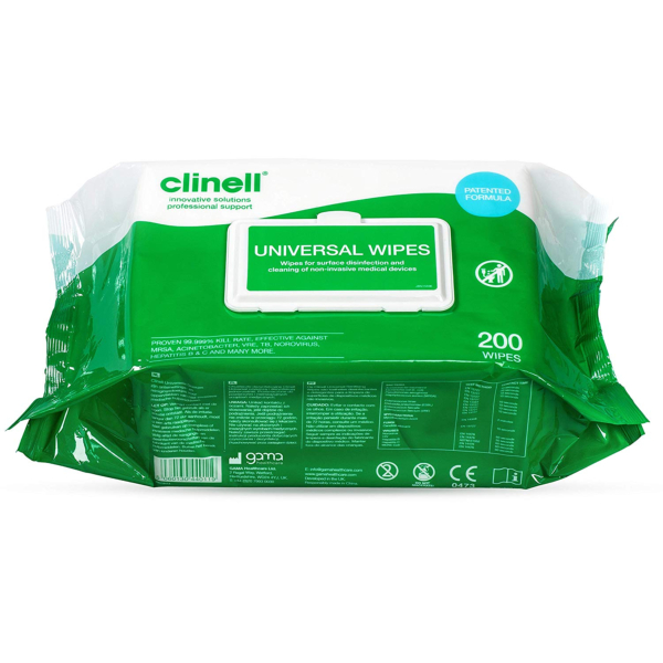 TOALLITAS CLINELL P/DESINFECCION DE SUPERFICIE Pack 200 Undes.